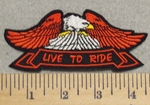 3018 N - Eagle With Banner - Live To Ride - Embroidery Patch