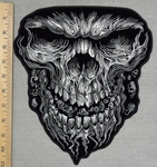 2862 G - Evil Skull Face With Weblike Beard And Mini Skulls In Mouth - Back Patch - Embroidery Patch