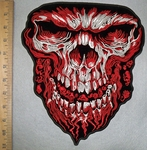 3588 G - Evil Skull Face With Weblike Beard And Mini Skulls In Mouth - Red -  Back Patch - Embroidery Patch