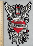 2857  G - Forever In Love - Red Heart With Dagger - Eagle And Flowers - Back Patch -  Embroidery Patch