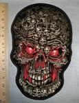 2589 G - Full Red Eyed Skullface And Bones - Back Patch - Embroidery Patch