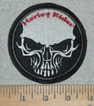 Harley Rider With Skullface - Round - Embroidery Patch