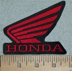 3112 G - Honda Logo With Wings - Red - Embroidery Patch
