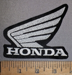 2172 L - Honda Wing Logo - White - Embroidery Patch