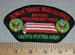 2804 W - Honor Those Who Served - American Flag Over Coffin - United States Army - Embroidery Patch