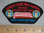 2803 W - Honor Those Who Served - American Flag Over Coffin - Unites States Air Force - Embroidery Patch