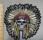 Indian Chief With Full Headress - Skull Face - Back Patch - Embroidery Patch