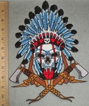 Indian Skull Chief With Full Headress And Axe - War Cry - Back Patch - Embroidery Patch