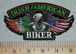 Irish Flag/American Flag Biker Eagle Wings With V-Twin Engine -Embroidery Patch