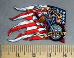 3455 N American Forever - Motorcycle Through Torn American Flag -- Embroidery Patch