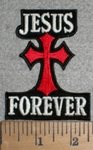 3336 W - Jesus Forever With Chopper Like Cross - 5 Inch - Embroidery Patch