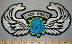 Lady Rider With Angel Wings - Turquoise Blue - Back Patch - Embroidery Patch