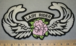 Lady Rider With Pink Rose And Wings - Back Patch - Embroidery Patch