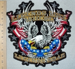 Legends Live Where Legends Soar - Eagle In Fight With American Flag - Back Patch - Embroidery Patch