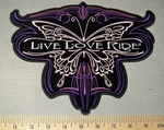 2329 G - Live - Love - Ride WIth Motorcycle Butterfly - Back Patch - Embroidery Patch