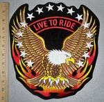 Live To Ride - Stars And Flames- With Eagle - Back Patch  - Embroidery Patch