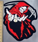 3284 C - Grim Reaper In Red Cape With Scythe - Back Patch - Embroidery Patch
