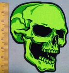 2924 G - Neon Green Large Skull Face - Back Patch - Embroidery Patch