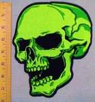 2923 G - Neon Green Large Skull Face - Left Side - Back Patch - Embroidery Patch