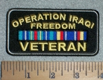 2763 W - Operation Iraqi Freedom Veteran - With Stripes - Embroidery Patch