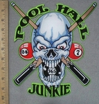 3420 N - Pool Hall Junkie - Skull  FAce With Pool Sticks And Balls - Back Patch -Embroidery Patch