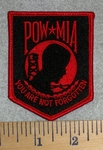 POW - MIA - You Are Not Forgotten - red - Embroidery Patch