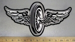 2034 N - Wheel With Angel Wings - Back Patch - Embroidery Patch