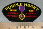Purple Heart medal Veitnam Veteran Combat Wounded With Rank Stripes - Embroidery Patchch