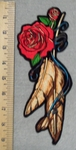 2855 G - Red Roses And Feathers - Back Patch - Embroidery Patch