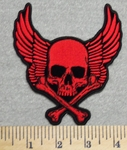 2894 G - Red Skull Face With  Cross Bones And Wings - Embroidery Patch
