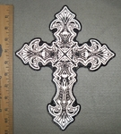 Reflective - Celtic Cross With Skulls - Back Patch - Embroidery Patch