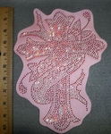 2740 L - Rhinestone Bling - Cross With Ribbon - Pink - Back Patch - Embroidery Patch