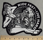 Ride Fast - Live Hard - Biker Chick With V- Twins - Back Patch - Embroidery Patch