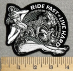 2893 G - Ride Fast - Live Hard - Biker Chick With V- Twins - Embroidery Patch