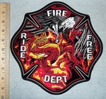 Ride Free Fire Dept With Fighting Eagle And Dragon In Fire - Back Patch - Embroidery Patch