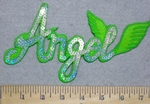 3311 C -Sequinned Bling Bling - Angel With Wings - Green - Embroidery Patch