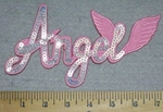 3310  C - Sequinned - Bling Bling - Angel With Wings - Pink - Embroidery Patch