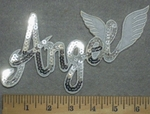 3309 C - Sequinned Bling Bling - Angel With Wings - White - Embroidery Patch