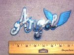 3312  C - Sequinned - Bling Bling - Blue Angel With Wings - Embroidery Patch