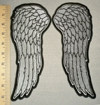 2328 G - Silver Angel Wings - Back Patch - Embroidery Patch