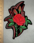 Single Red Rose - Back Patch - Embroidery Patch