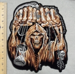 2863 G - Skull Face With Fists And Chains - Back Patch - Embroidery Patch