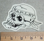 Skull Face With Harley Bandana - Embroidery Patch