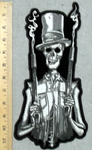 Skull Man With Tophat And Two Smoking Shotguns - Back Patch - Embroidery Patch