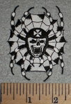 2697 N - Skullface Spider in Web With Chopper Helmet - Black And White - Embroidery Patch