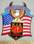 2961 G - Some Gave All Banner  With AMerican Flag - American Eagle - KIA Banner - Back Patch - Embroidery Patch