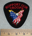 Support Our Troops - American Eagle Surrounded By American Flag - Embroidery Patch