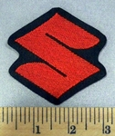 "2136 L - Suzuki Symbol ""S"" - Red - Embroidery Patch"