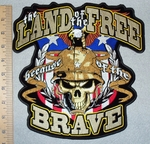 The Land Of The Free Because Of The Brave - American Flag Shield With Eagle And Military  Skull Face - Back Patch  - Embroidery Patch
