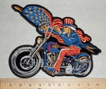 Uncle Sam With USA Falg And Motorcyle - Back Patch - Embroidery Patch